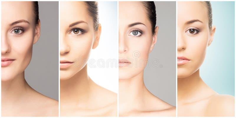 Beau visage de jeune et en bonne santé fille dans la collection de collage Chirurgie plastique, soins de la peau, cosmétiques et  image stock