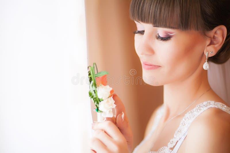 Beau visage de jeune femme blonde de jeune mariée Matin Portra de beauté image libre de droits