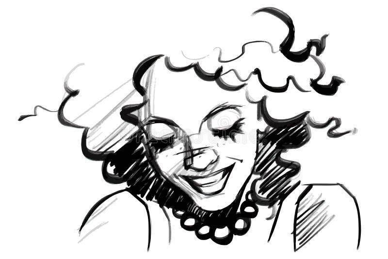 Beau visage de sourire de femme avec les cheveux bouclés Croquis d'isolement de crayon au-dessus de blanc illustration libre de droits