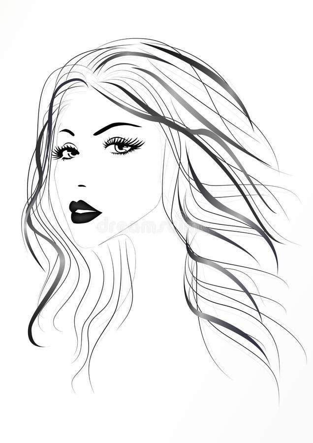 Beau visage du ` s de femme avec de longs cheveux onduleux, illustration noire et blanche de vecteur illustration de vecteur