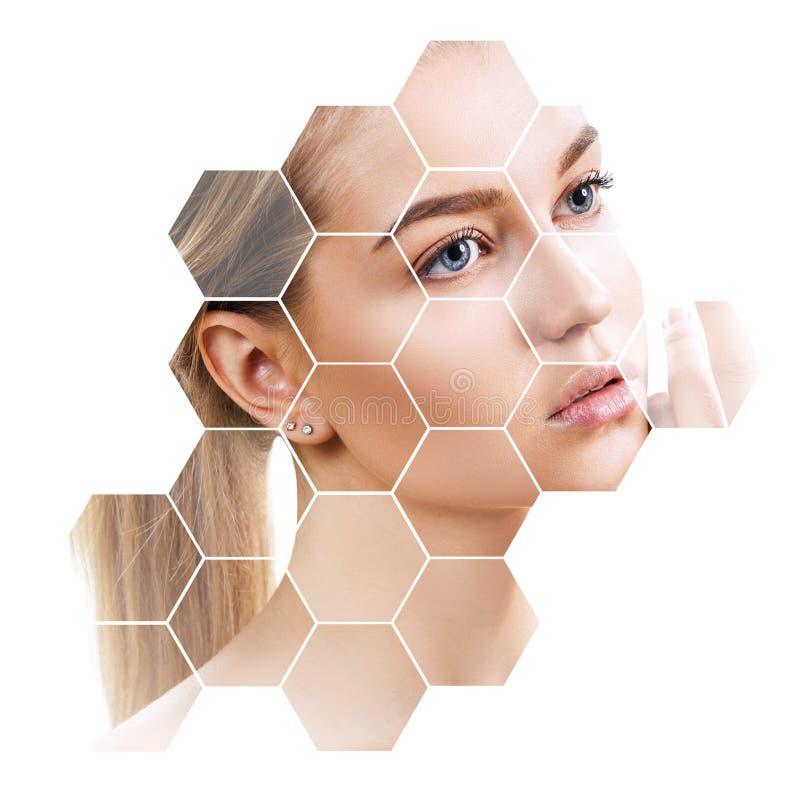 Beau visage femelle en nids d'abeilles Concept de station thermale image libre de droits
