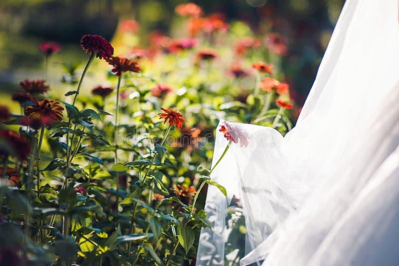 Beau voile nuptiale avec des fleurs photos libres de droits
