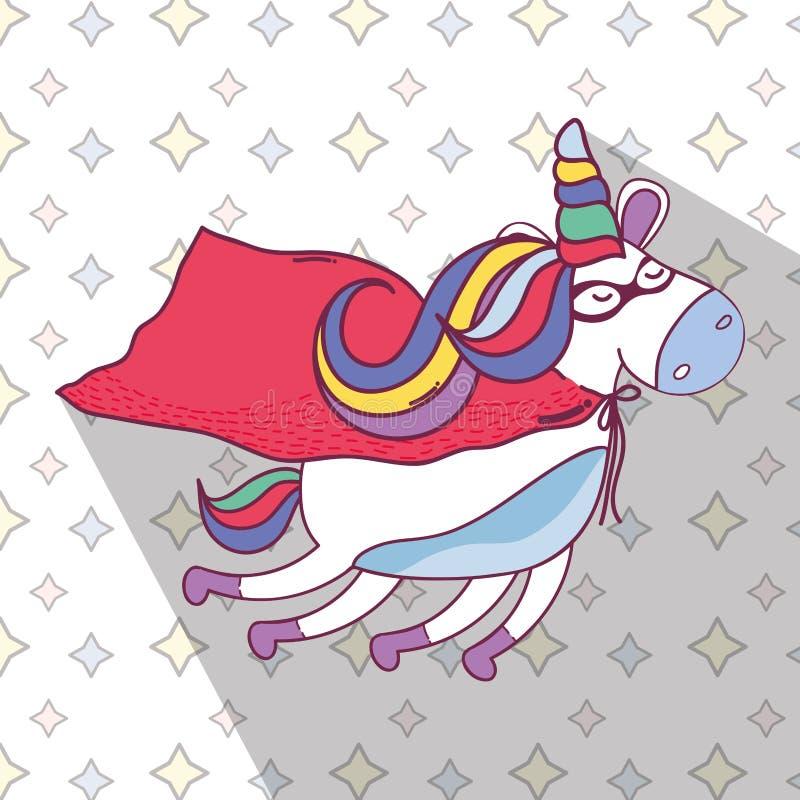 Beau vol de licorne de superhéros illustration de vecteur