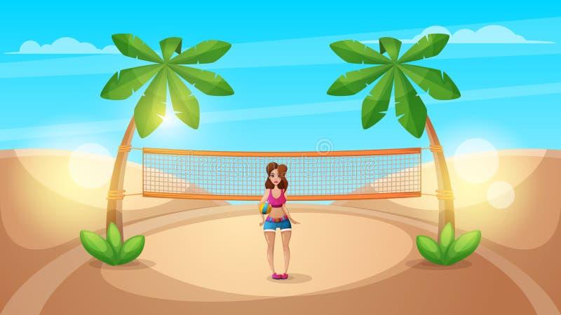 Beau volleyball mignon de jeu de fille illustration de vecteur