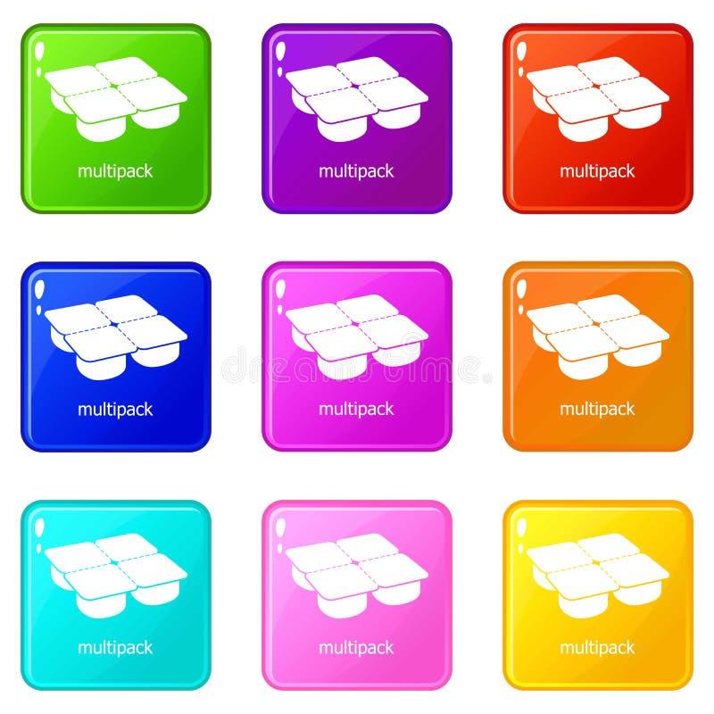 Beaucoup collection de couleur de l'ensemble de 9 d'icônes de paquets illustration stock