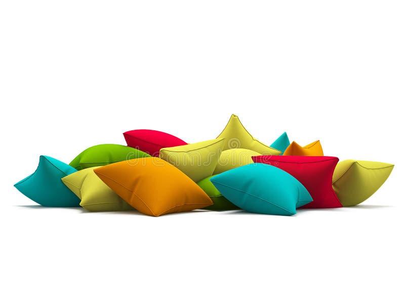 Beaucoup colorent des coussins sur le fond blanc illustration 3D image libre de droits