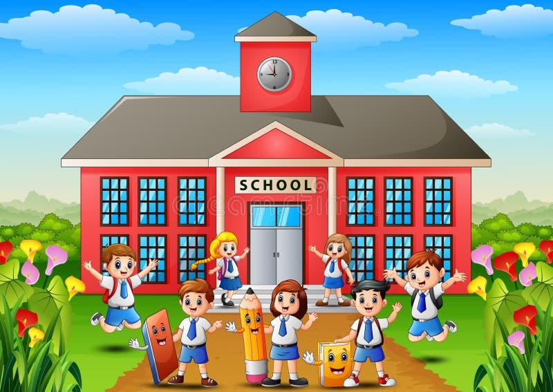 Beaucoup d'écoliers devant le bâtiment scolaire illustration libre de droits