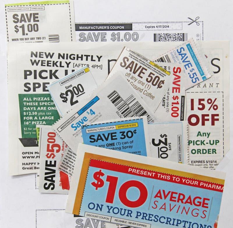 Beaucoup d'épargne du dollar de bons de prescription de restaurant d'épicerie images libres de droits