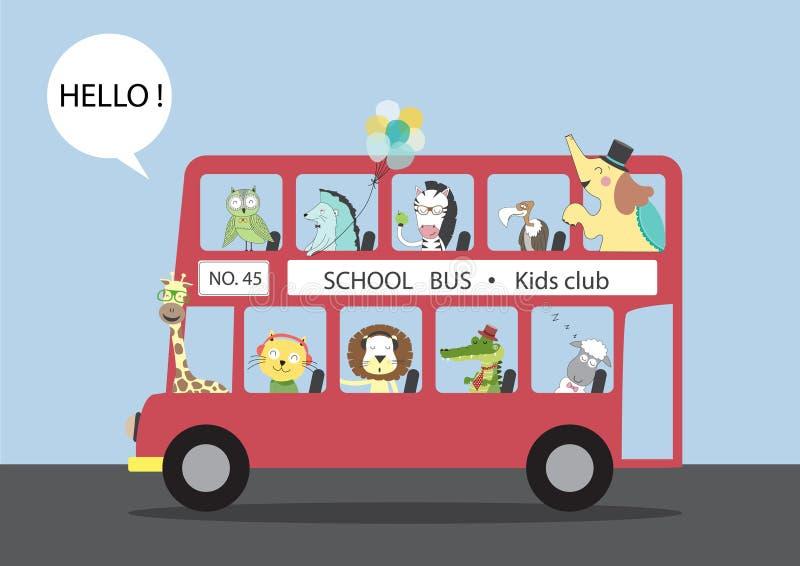 Beaucoup d'animaux montant sur un autobus, illustrations de vecteur illustration libre de droits