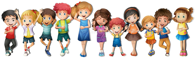 Beaucoup d'enfants avec le visage heureux illustration libre de droits