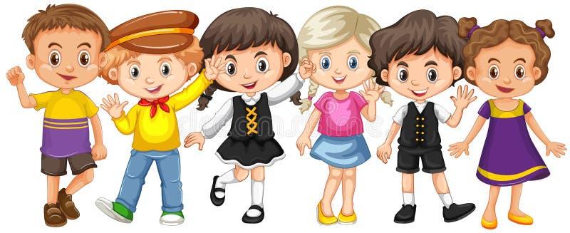 Beaucoup d'enfants avec le visage heureux illustration stock