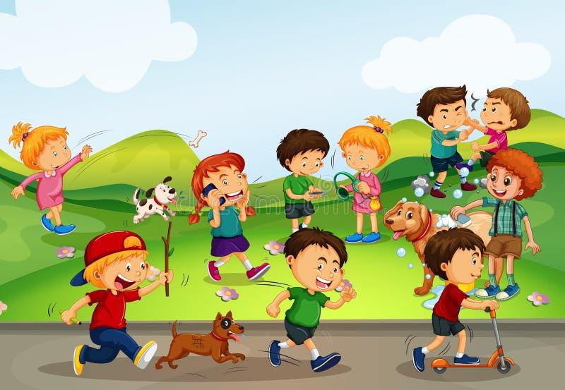 Beaucoup d'enfants jouant dans le domaine illustration de vecteur