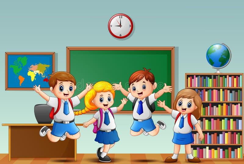 Beaucoup d'enfants ondulant la main dans l'avant de la salle de classe illustration de vecteur