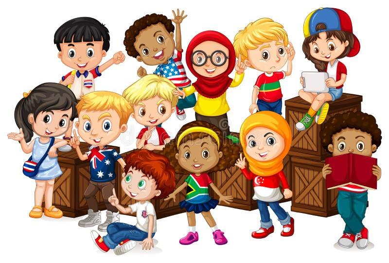 Beaucoup d'enfants s'asseyant sur les boîtes en bois illustration de vecteur