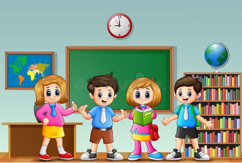 Beaucoup d'enfants se tenant dans l'avant de la salle de classe illustration de vecteur