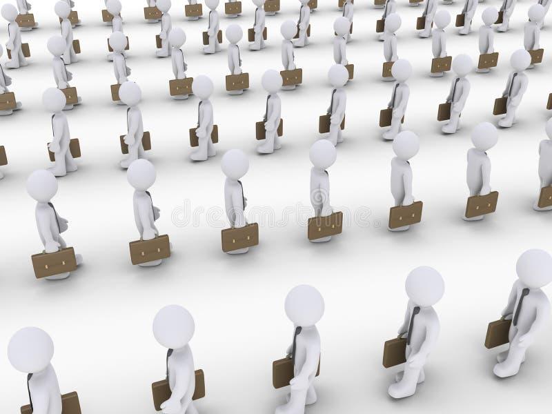 Beaucoup d'hommes d'affaires marchant dans les lignes illustration libre de droits