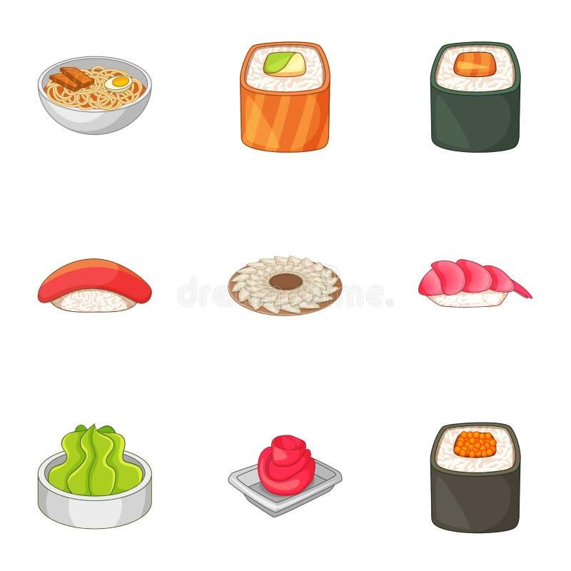 Beaucoup d'icônes asiatiques de nourriture de sushi ont placé, style de bande dessinée illustration libre de droits
