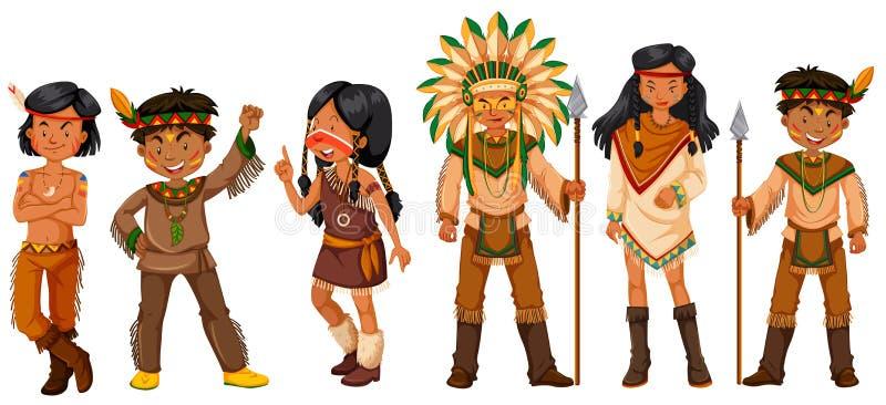 Beaucoup d'Indiens d'Amerique indigènes dans des costumes illustration libre de droits