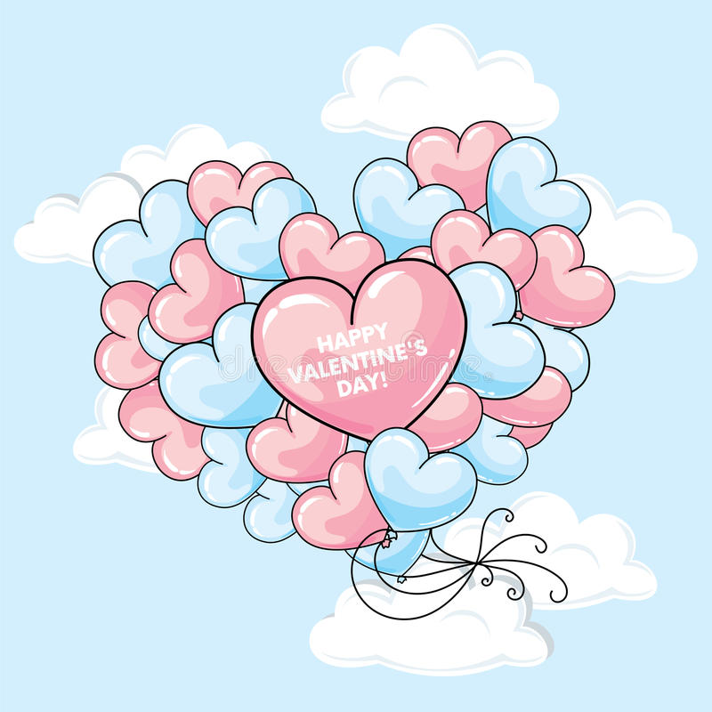 Beaucoup de ballons sous forme de coeur Illustration de vecteur Jour du ` s de St Valentine illustration de vecteur