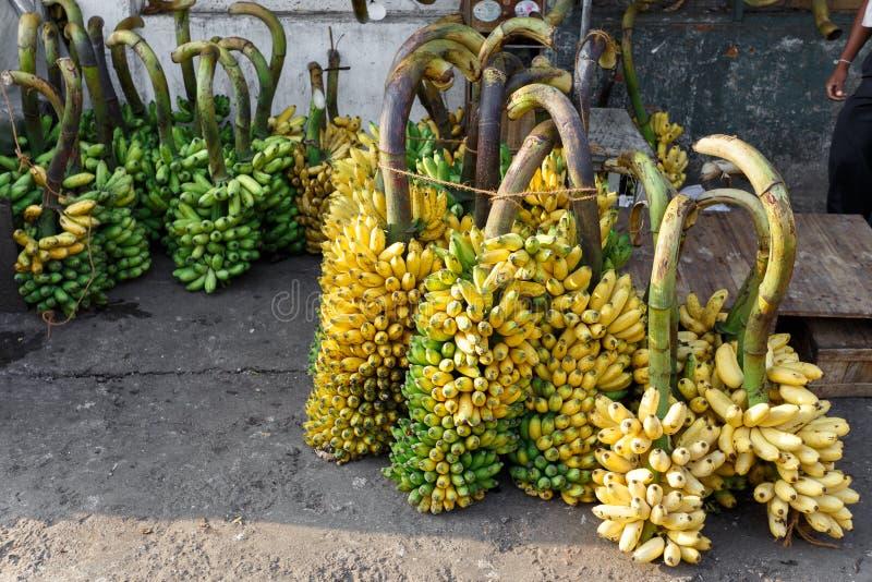 Beaucoup de bananes au marché image libre de droits