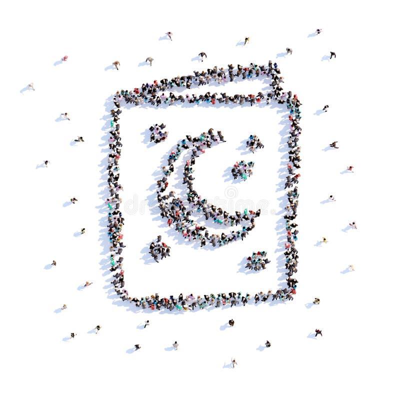 Beaucoup de berceuse de forme de personnes, icône rendu 3d illustration libre de droits
