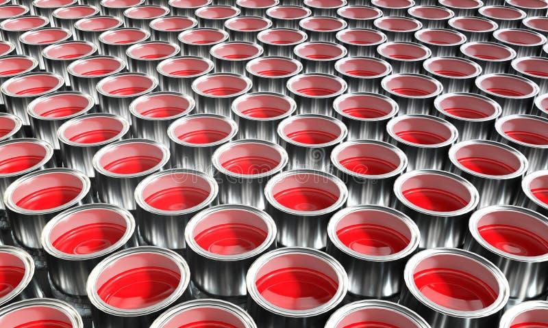 Beaucoup de boîtes de peinture avec la couleur rouge illustration libre de droits
