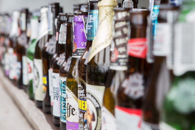 Beaucoup de bouteilles à bière vides image libre de droits