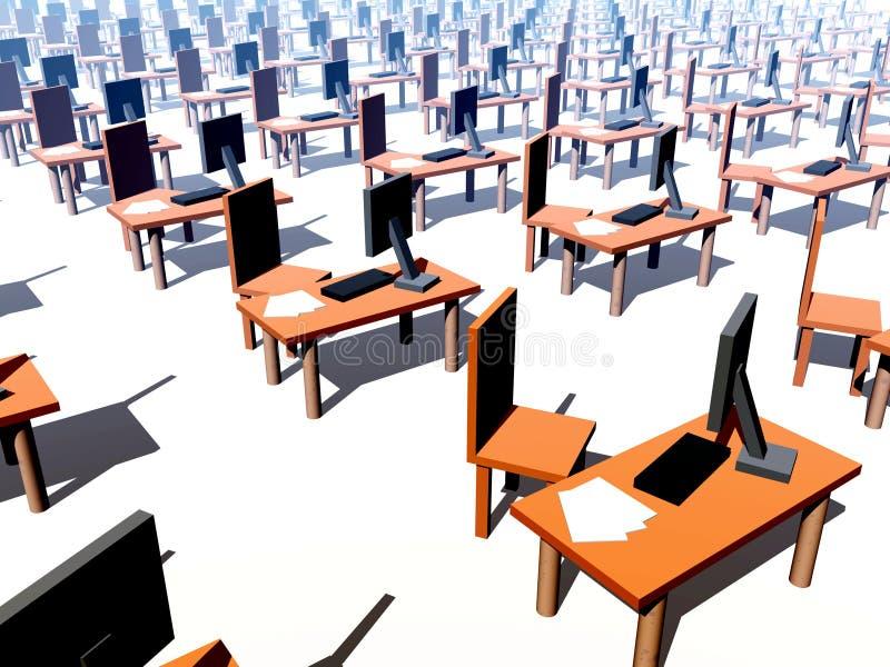 Beaucoup de bureaux avec les présidences 1 illustration stock