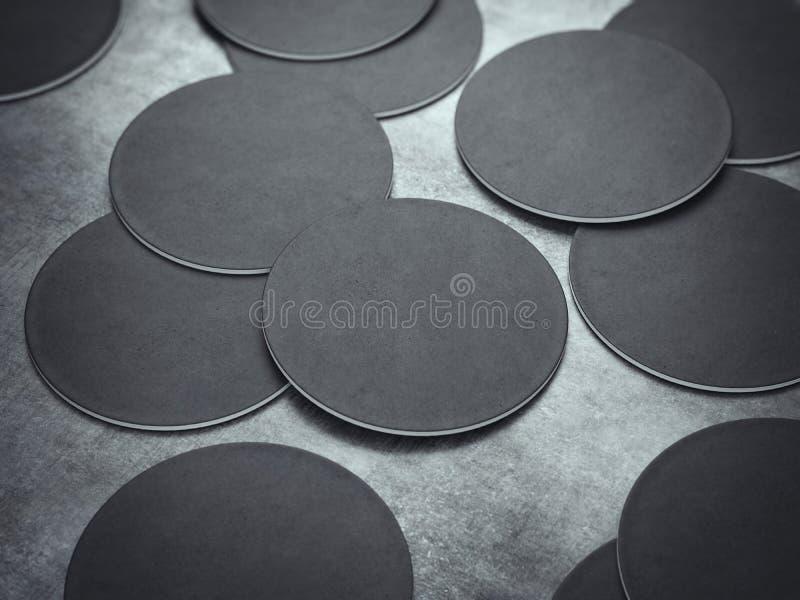 Beaucoup de caboteurs noirs de bière de cercle rendu 3d image stock