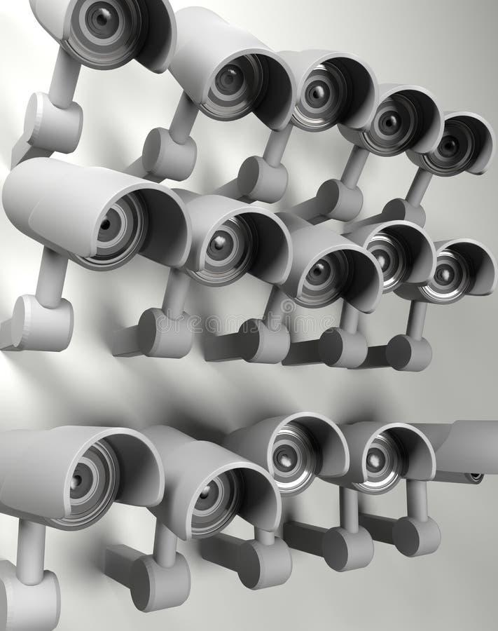 Beaucoup de caméras de sécurité sur la ville, frère vous observant Appareil-photo de t?l?vision en circuit ferm? de surveillance  illustration de vecteur