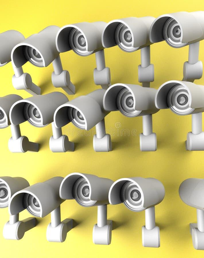 Beaucoup de caméras de sécurité sur la ville, frère vous observant Appareil-photo de t?l?vision en circuit ferm? de surveillance  illustration libre de droits