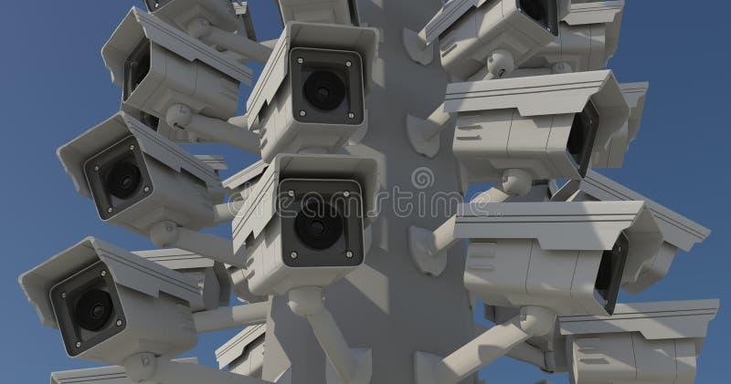 Beaucoup de caméras de sécurité sur le pilier de ville, frère observant y images libres de droits