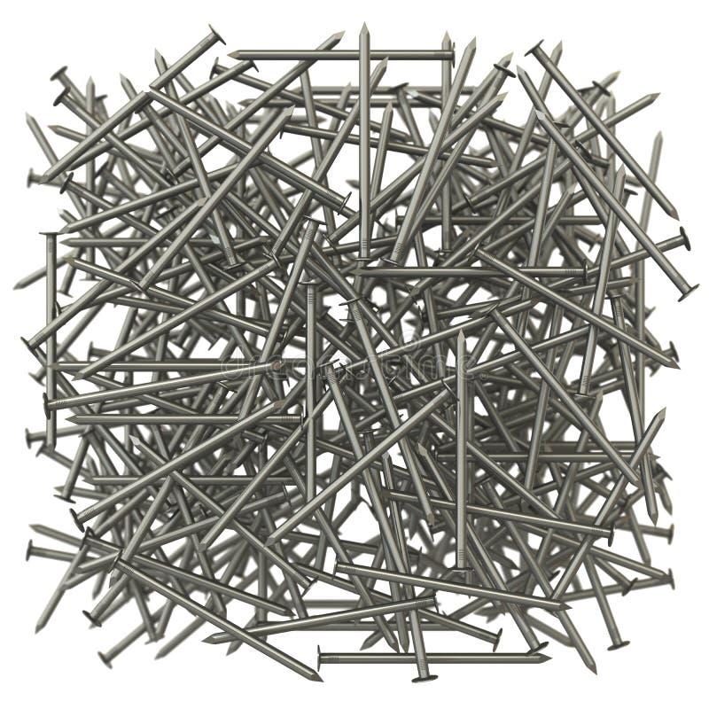 Beaucoup de clous en métal illustration stock