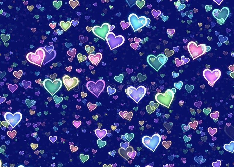 Beaucoup de coeurs multicolores sur le fond bleu illustration libre de droits