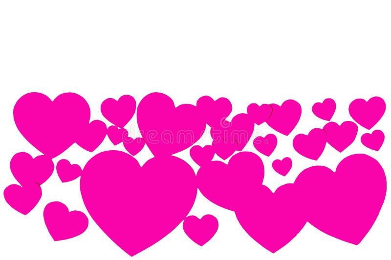 Beaucoup de coeurs de papier roses sous la forme de cadre décoratif sur le fond blanc avec l'espace de copie Symbole de jour d'am illustration libre de droits