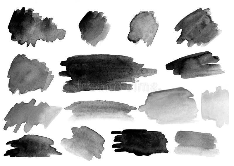 Beaucoup de courses de brosse d'aquarelle positionnement gradients images stock