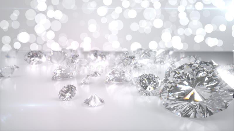 Beaucoup de diamants sur la surface brillante 3d rendent illustration libre de droits