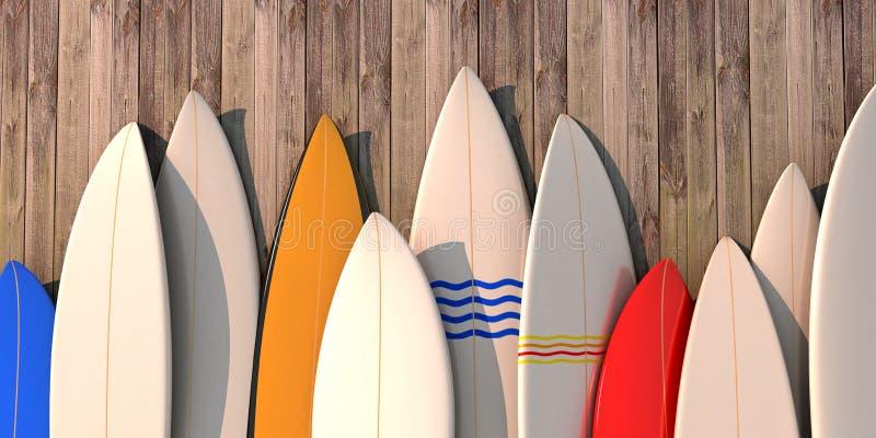 Beaucoup de différentes planches de surf colorées se tenant dans une rangée sur un mur en bois illustration de vecteur
