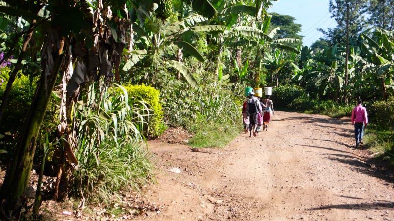 Beaucoup de femmes africaines retournant du puits avec des seaux d'eau sur leurs têtes photographie stock libre de droits