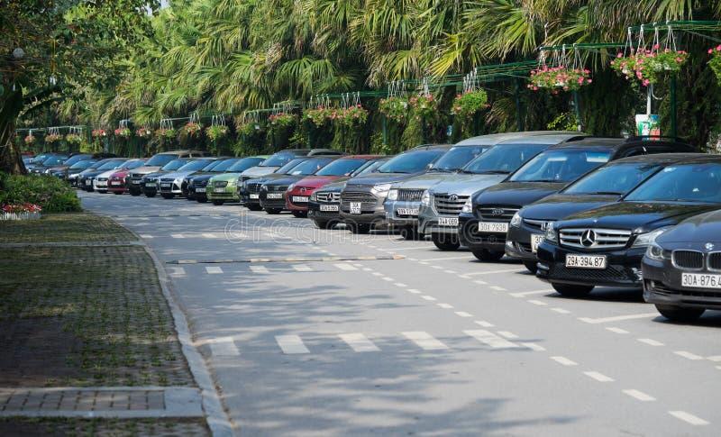 Beaucoup de genres de voitures se garant sur la rue dégrossissent image stock