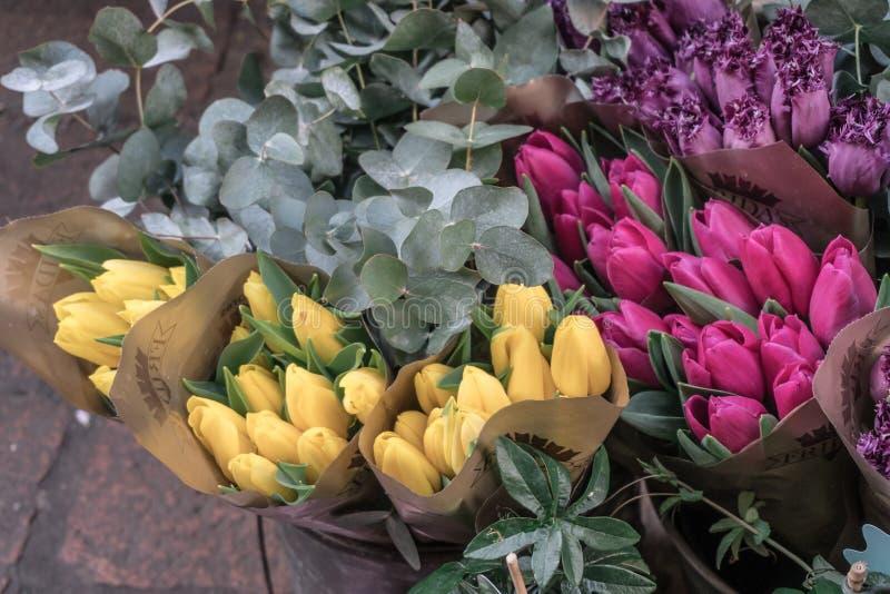 Beaucoup de groupes de pourpre, rose, tulipes jaunes photographie stock