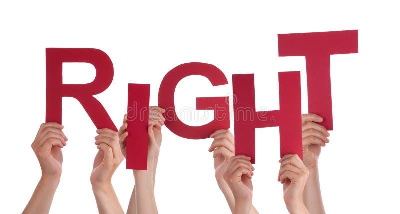 Beaucoup de mains de personnes tenant le respect rouge de Word image libre de droits