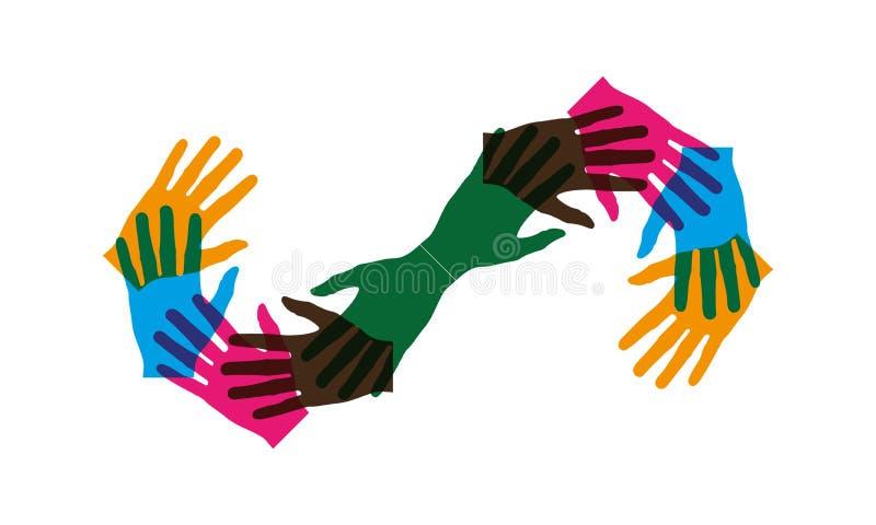 Beaucoup de mains groupent ensemble et faisant la forme d'infini illustration libre de droits
