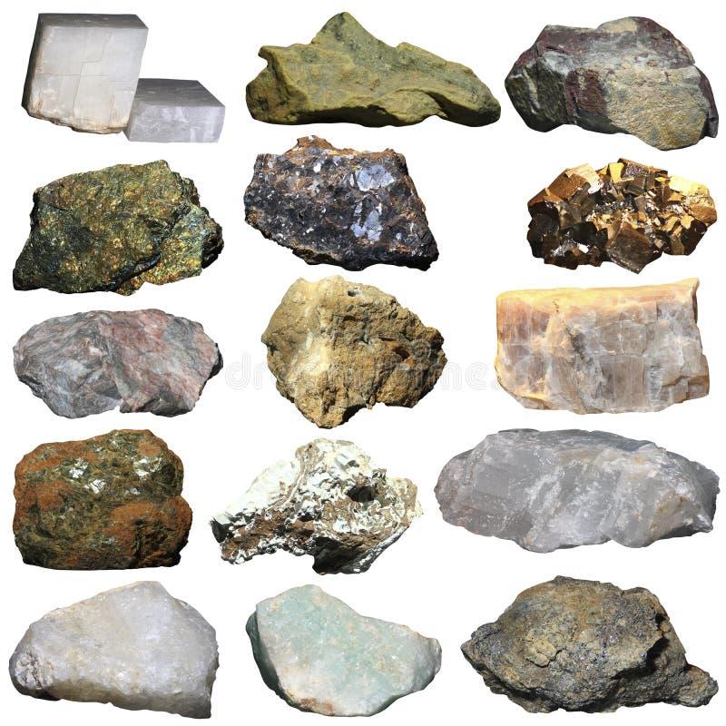 Beaucoup de minerais sur un fond blanc images libres de droits