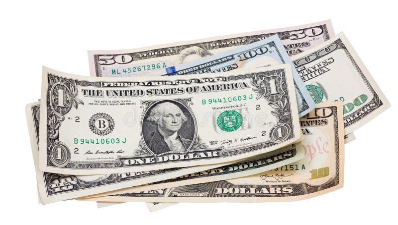 Beaucoup de paquet de billets de banque de dollars US d'isolement sur le fond blanc Dollars d'isolement sur le blanc photos stock