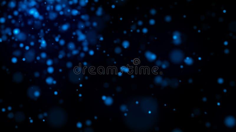 Beaucoup de particules éclatantes bleues dans l'espace, mouvement lent, fond abstrait généré par ordinateur, rendu 3D illustration de vecteur