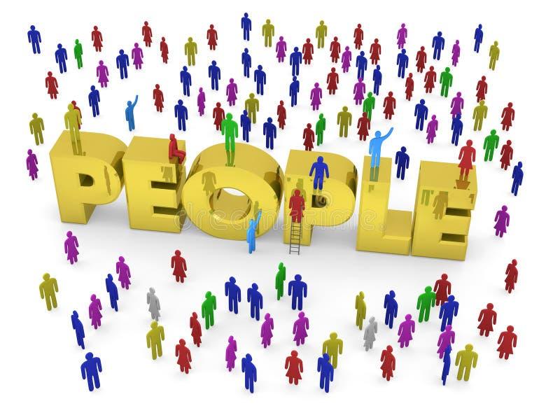 Beaucoup de personnes autour des personnes d'or de mot illustration de vecteur