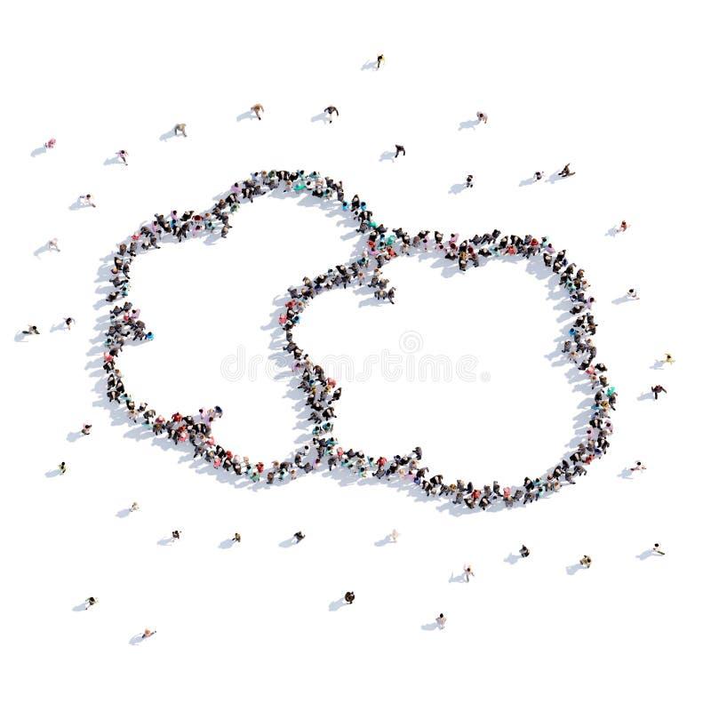 Beaucoup de personnes forment le nuage de la pensée, dessin du ` s d'enfants rendu 3d illustration stock