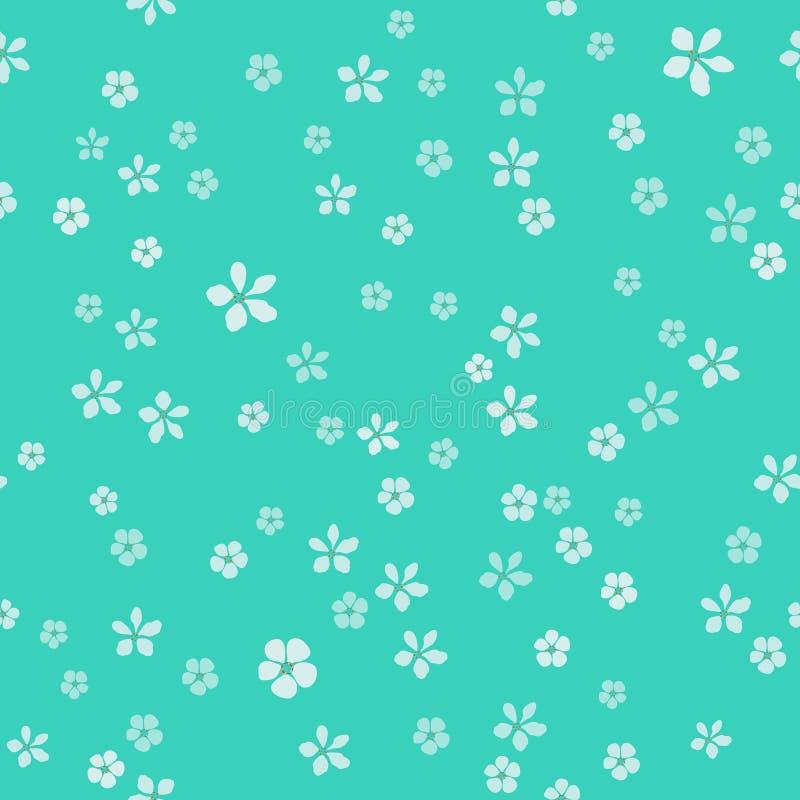Beaucoup de petites fleurs blanches avec le noyau d'or Fond de luxe de turquoise illustration de vecteur
