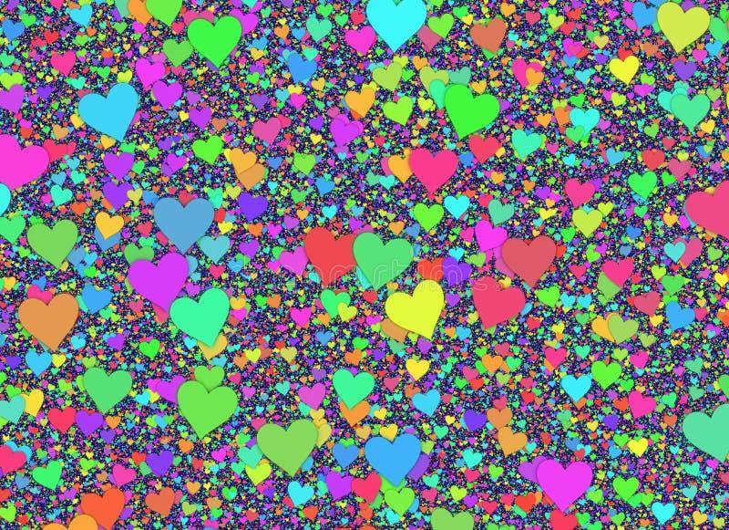 Beaucoup de petits milieux multicolores de coeurs illustration libre de droits